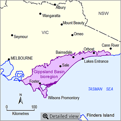 Thumbnail images of the Gippsland bioregion. Click to view detailed map.