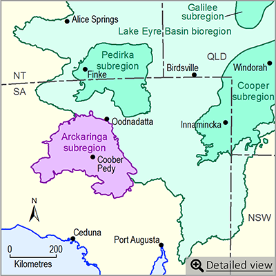 Thumbnail map of the Arckaringa subregion. Click image to view detailed map.