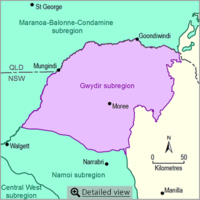 Thumbnail map of the Gwydir subregion. Click image to view detailed map.