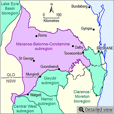 Thumbnail map of the Maranoa-Balonne-Condamine subregion. Click image to view detailed map.