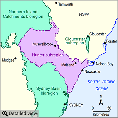 Thumbnail map of the Hunter subregion. Click image to view detailed map.