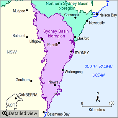 Thumbnail map of the Sydney Basin bioregion. Click image to view detailed map.