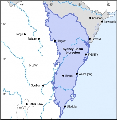 Map of the Sydney Basin bioregion